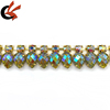 gold base+clear AB crystal+green AB glitter resin drop stones
