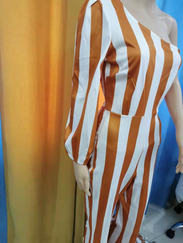 Женский Длинный комбинезон в полоску, Повседневный Шелковый комбинезон с открытой спиной, элегантный комбинезон для вечеринки, лето 2021