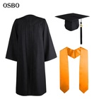 With Stole Graduation Caps And Gowns Custom Wholesale Black Academic College University Graduation Cap Gown With Stole