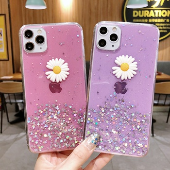 Hot Sale 3D Chrysanthemum Bling Mobile Phone Cover for iPhone/Samsung Galaxy Cover Flower Phone Case