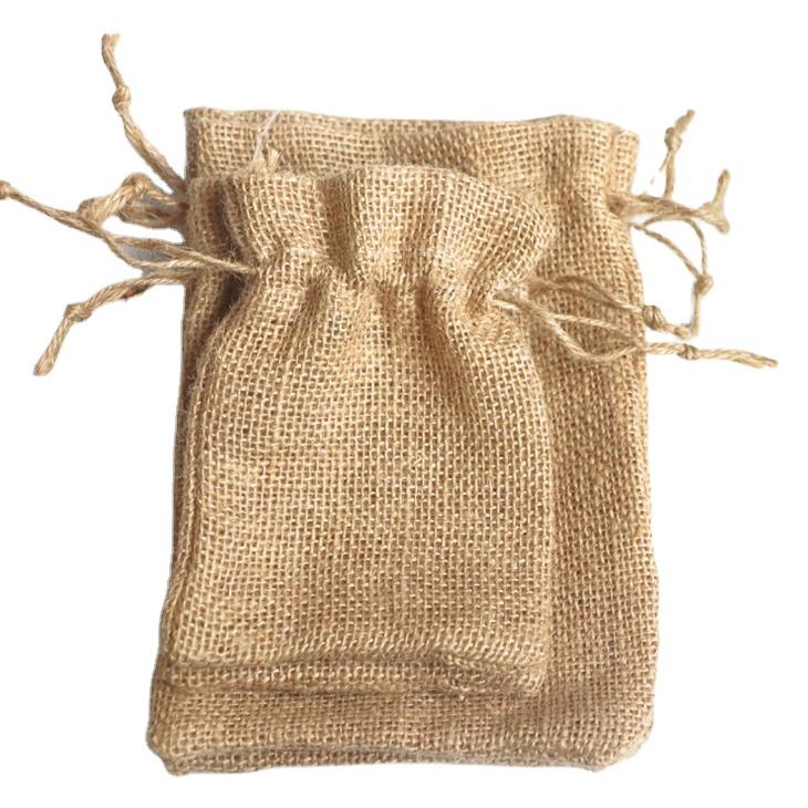 Sacs cadeaux en toile de Jute hessien, petits sacs en toile de Jute avec cordons, sachets d'emballage pour produits, bonbons en chanvre pour grains de riz, on de cuisson