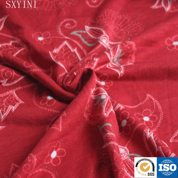 high quality cotton modal single jersey printed fabric