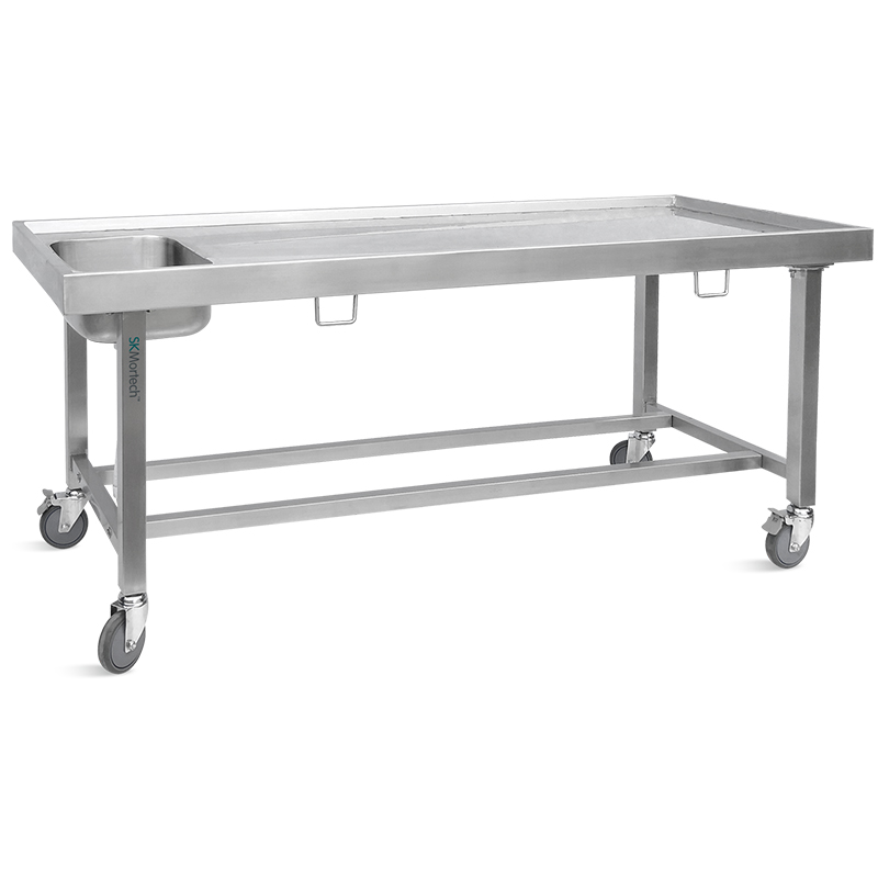 SK-DT003 Portable Casters Stainless Steel Morgue Equipment Dissection Postmortem Mortuary Corpse Autopsy Table with Sink