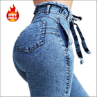 BH04 wholesale china ladies fashion clothing high waist stretch denim pencil trousers vintage elastic women jeans pants