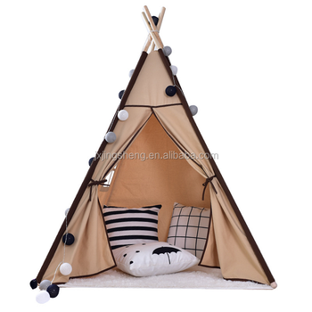 Simple Design Wood Canvas Tepee For Kids