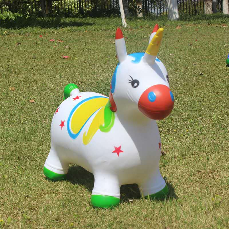 Bouncy Unicorn Hopper for Toddlers Inflatable Hopping Bouncing Jumping Animal With Shiny Musical