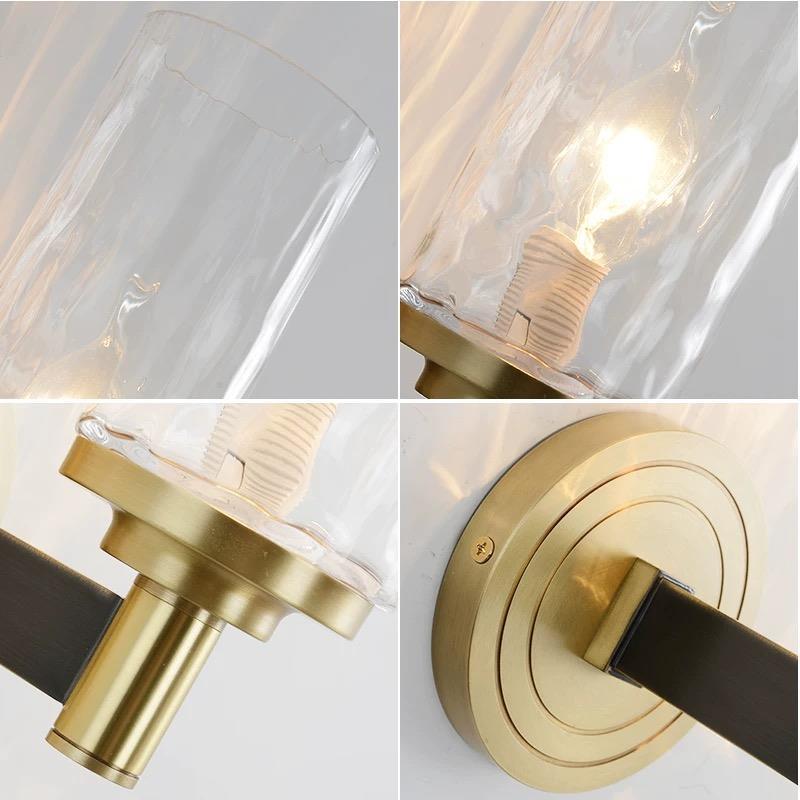 Europe home decor bedroom copper glass design modern hotel sconces lamp bedroom wall light for hotel bedside