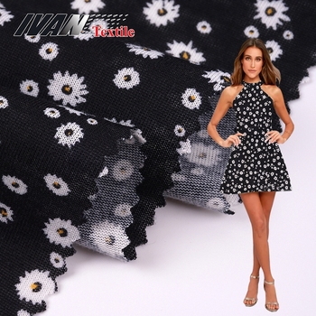 Women garment knit black white flowers printed 100 polyester fabric for dress tshirt tops