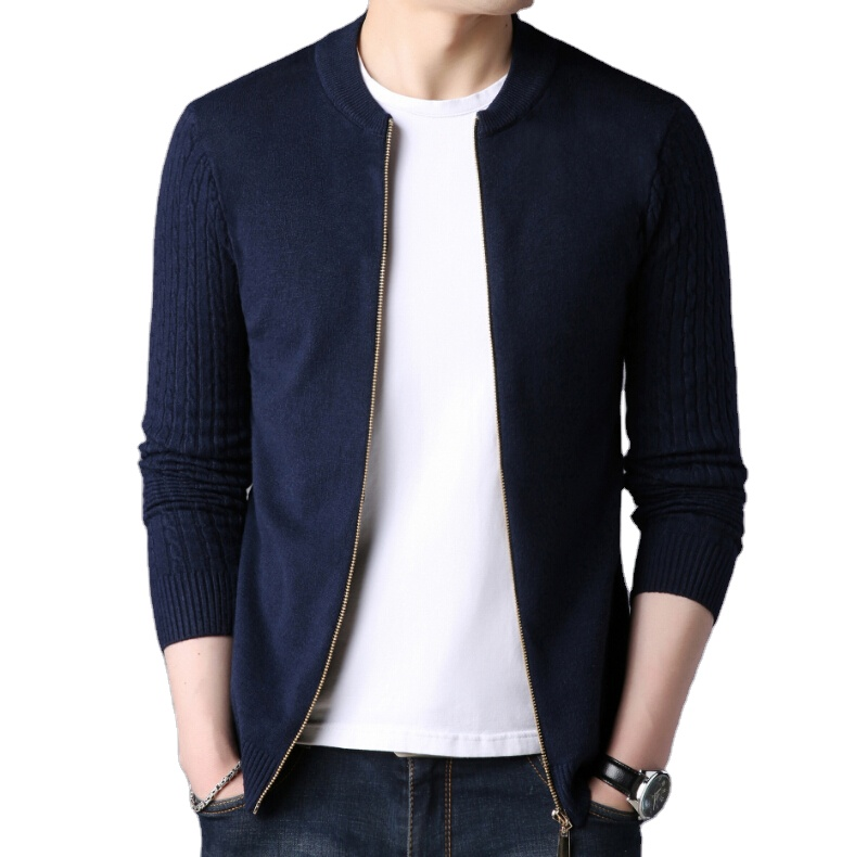 manufacturer provide custom autumn men's shrug knit sweater long sleeve stand collar casual zip cardigan