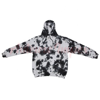 Custom Clothing Manufacturers Streetwear Oversize Fleece tie dye hoodies black and white fashion unisex pullover