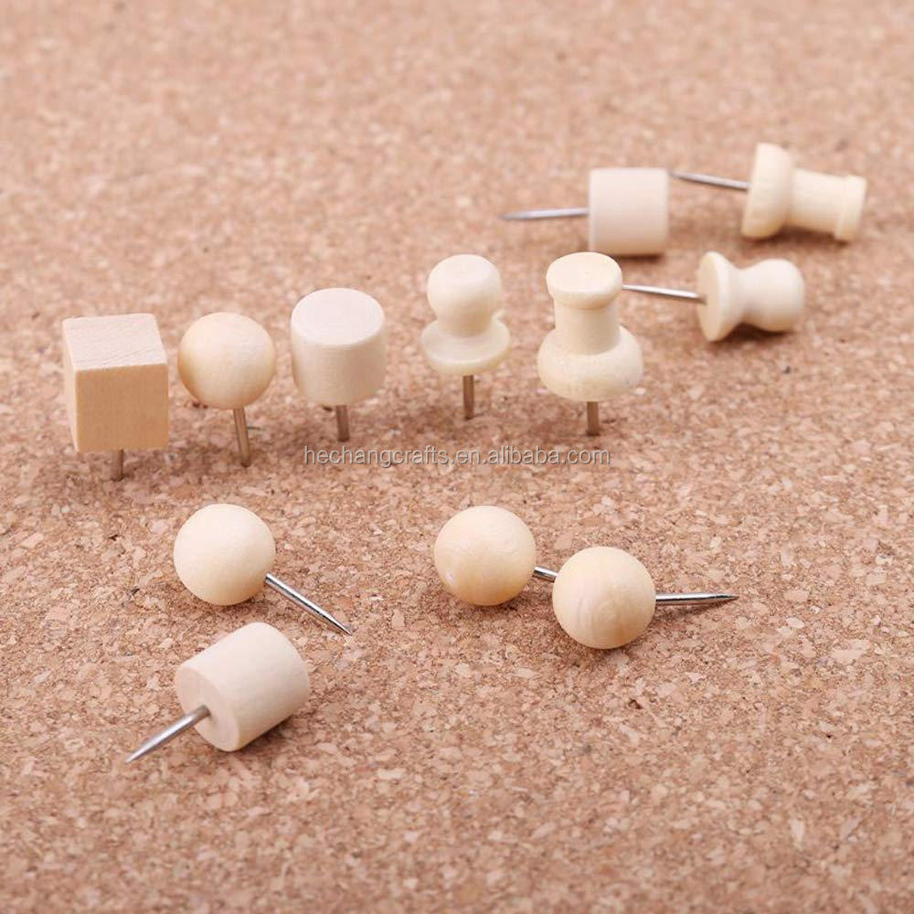 Wood Push Pins Thumb Tacks Used for Cork Boards Maps or Bulletin Boards 5000 Untis Decoration 5-7days Natural Color Round DIY /