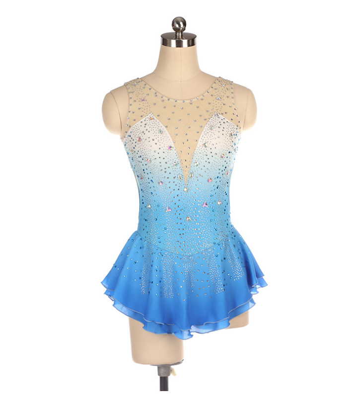 Figure skating show suit custom competition light blue gradient diamond Competitive Dance