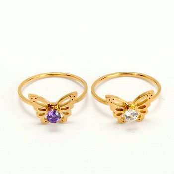Newest Butterfly Shaped Fashion Rings Stainless Steel Gold Plated Ring With Clear Amethyst Rings