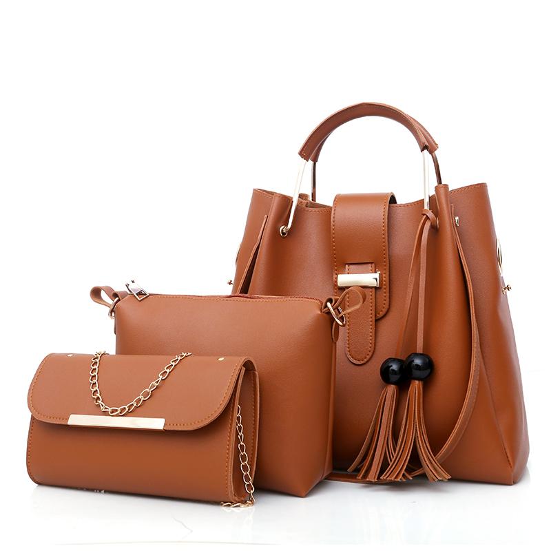 Оптовая продажа, Индивидуальные Высококачественные элегантные женские красные кожаные деловые сумки 3 в 1, сумки для женщин