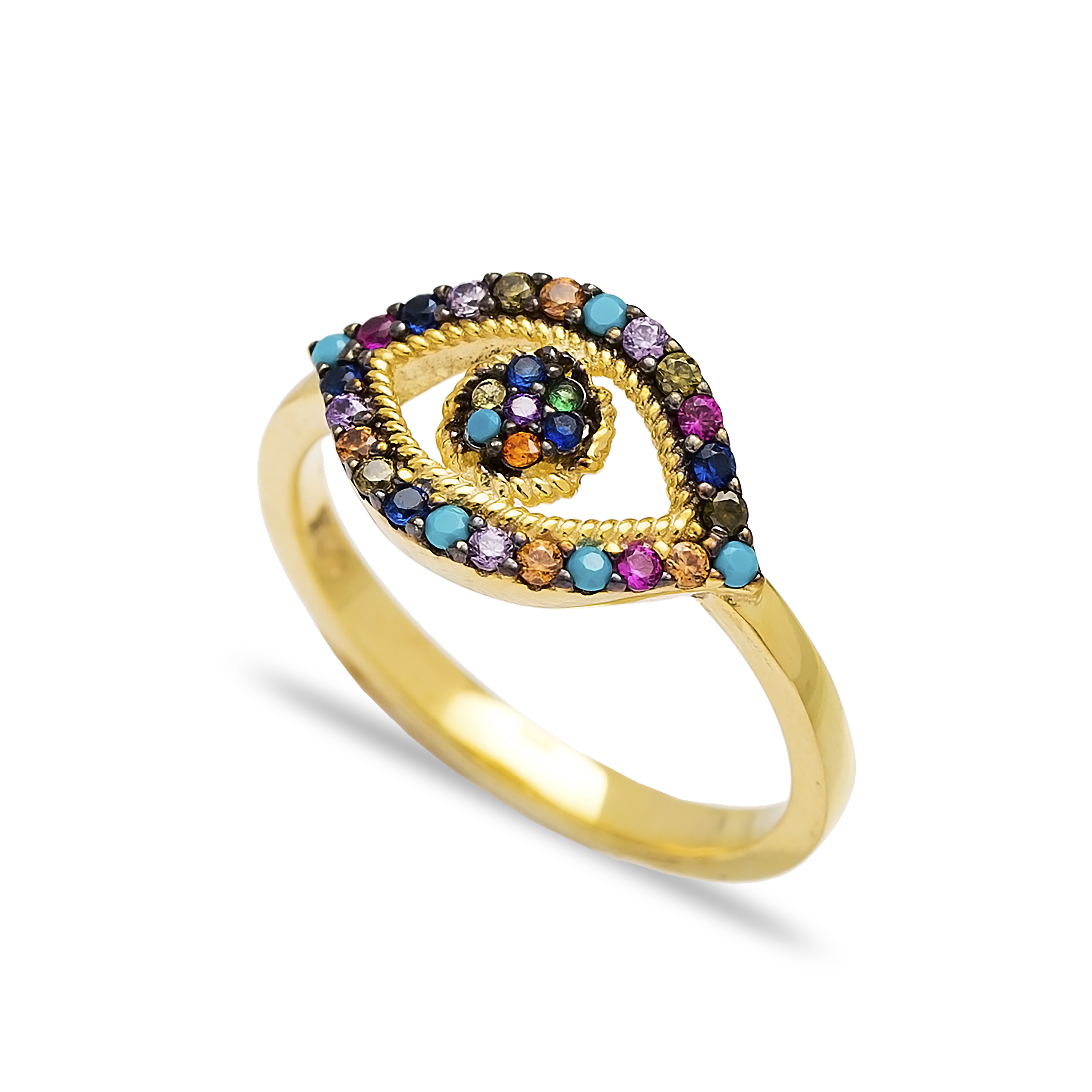 925 Silver Colorful Evil Eye Ring