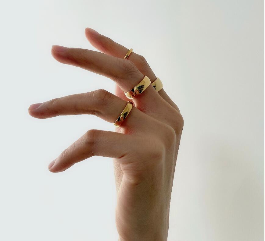 Gold Thumb Geometric Ring Patterned Band Ring Stacking Band Unisex Ring Band Ring Gold Band Gift for Mom Gift Item Mothers Day Gift