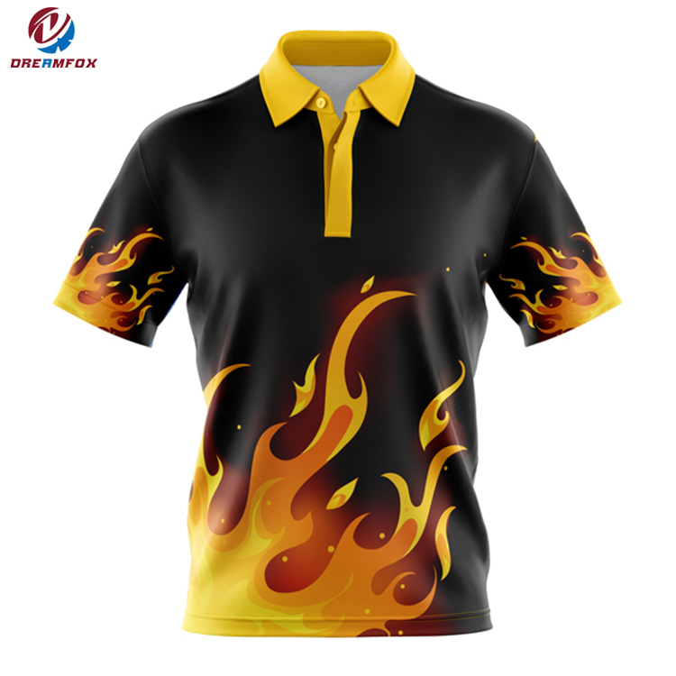 Latest Fire Pattern Polo Shirt Design Short Sleeve Custom Sublimation Polo Shirt Printing Logo For Free Quick Dry Polo Shirt - Buy New Design Polo ...