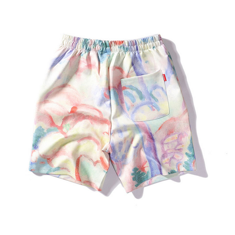 Hot Seal Men Hawaiian Beach Shorts Gradient Printed Polyester Men Beach Short