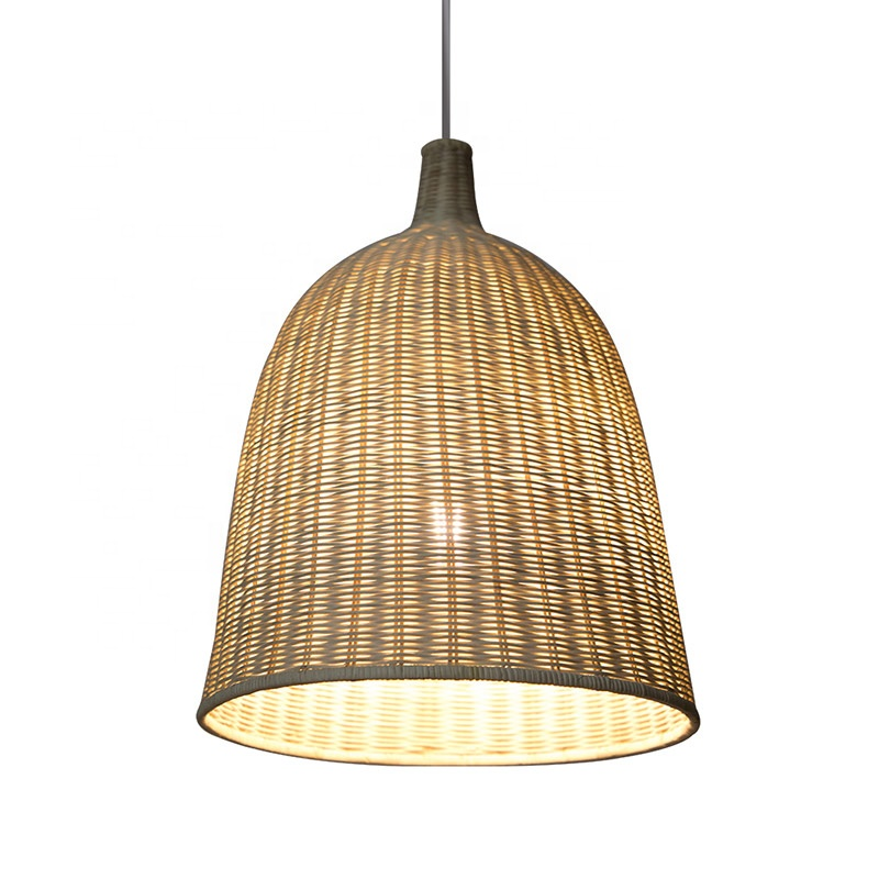 Factory Wholesale High Quality Home Decor Natural Rattan Woven Lamp shade rattan wicker bamboo pendant light