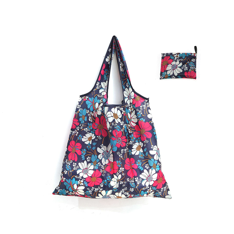 Easy carry foldable portable printed polyester reusable grocery Folding shopping bag