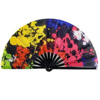 Custom design Large Folding Hand Rave Fan Japanese Bamboo and Oxford Cloth Folding Hand Fan
