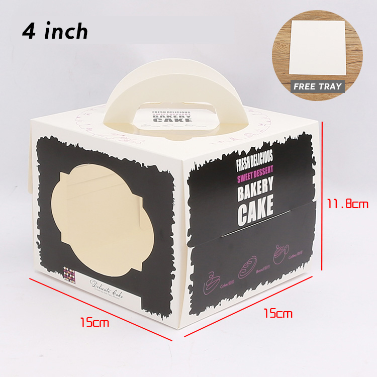 5piece per bag 4inch Factory direct sales cheap fashion wedding cake boxes cake box with handle