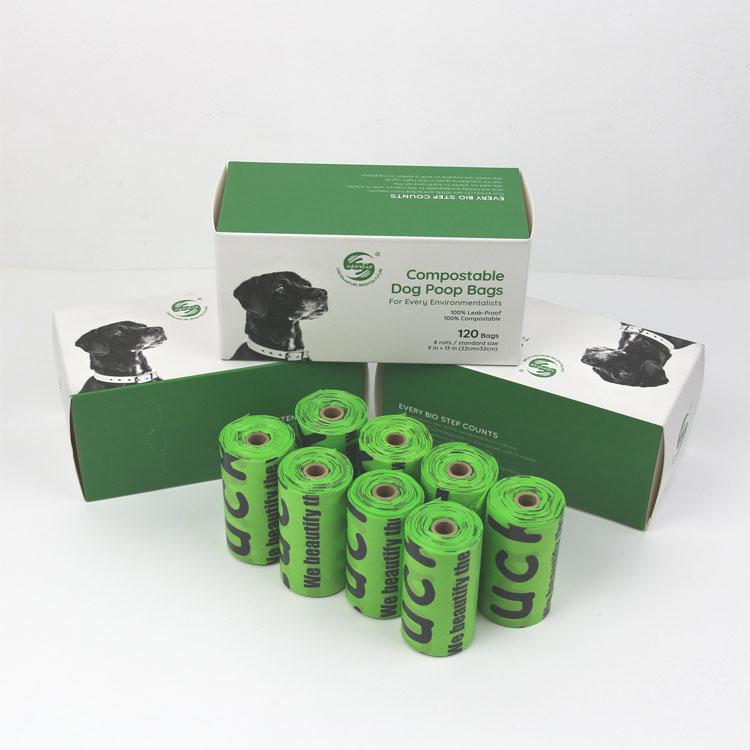 Землеройная компостированная сумка для собак 120 мешков 100% биоразлагаемая сумка для собак
