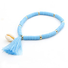 Shell Beaded Shell 2021 Bohemian Female Jewelry Soft Pottery Color Shell Tassel Pendant Bracelet Pottery Beaded Bracelet