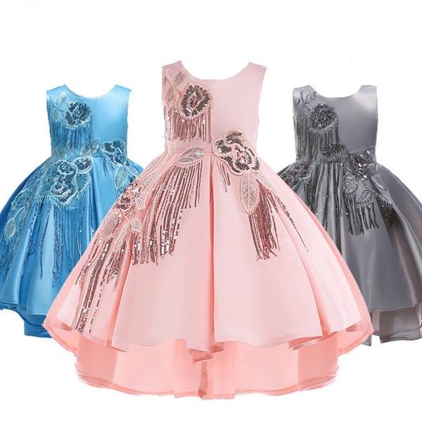 Детские худи для девочек, элегантное, с цветочным узором, для дня рождения, детский костюм принцессы для вечеринки, торжества, торжественное платье платья сатин с блестками и с бахромой, свадебное платье со шлейфом;