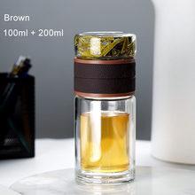 Стеклянная бутылка для воды с чайным фильтром, с двойными стенками, портативные бутылки для заварки чая, посуда для напитков 100 мл + 200 мл 520 мл...(Китай)