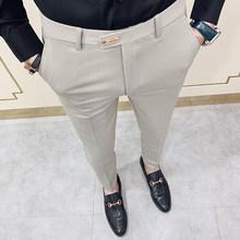 Формальные мужские костюмные брюки, модные повседневные облегающие деловые брюки для свадьбы, вечеринки, работы, брюки большого размера 28-36...(Китай)