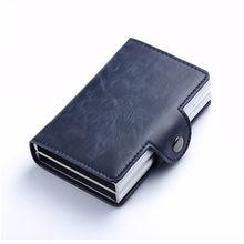 BISI GORO 2020, мужской и женский кредитный держатель для карт, металлическая RFID двойная алюминиевая коробка, автобусный держатель для карт Crazy Horse...(Китай)