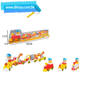 Cartoon B/O Car Toys Electric Pressing Small Train Towed Engineering Construction Truck Vehicle Plastic Car Ride On Car For Kids