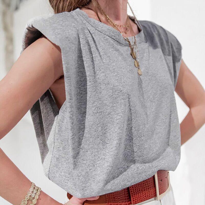 Модная летняя хлопковая футболка без рукавов, женские повседневные свободные топы с круглым вырезом, футболки, уличные Топы для женщин 2021