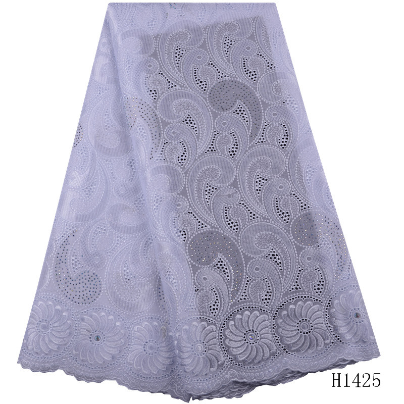 1425 Free Freight Nigerian Cotton Lace Fabric With Stones Roral Blue Swiss Voile Lace In Switzerland