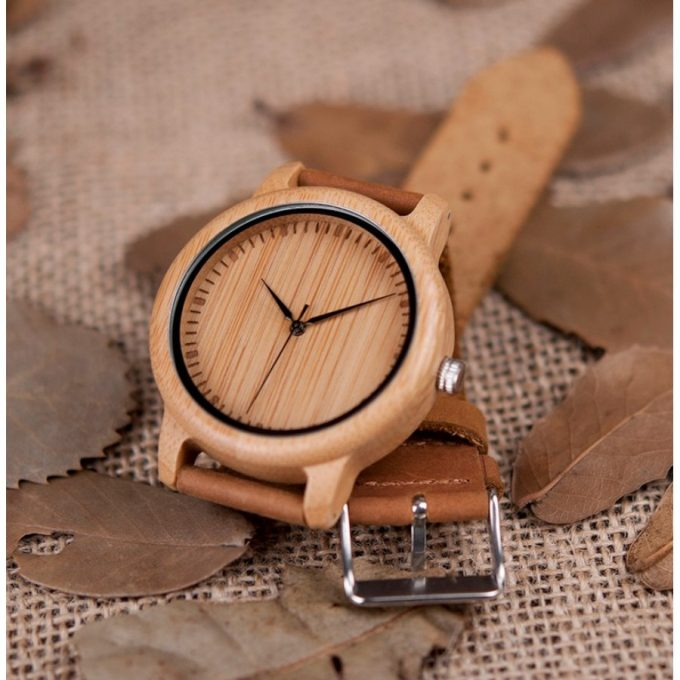 Belt Road Men Women Bamboo Wooden Watch with Genuine Brown Leather Strap Wrist Watch Belt Road Men Women Bamboo Wooden Watch with Genuine Brown Leather Strap Wrist Watch
