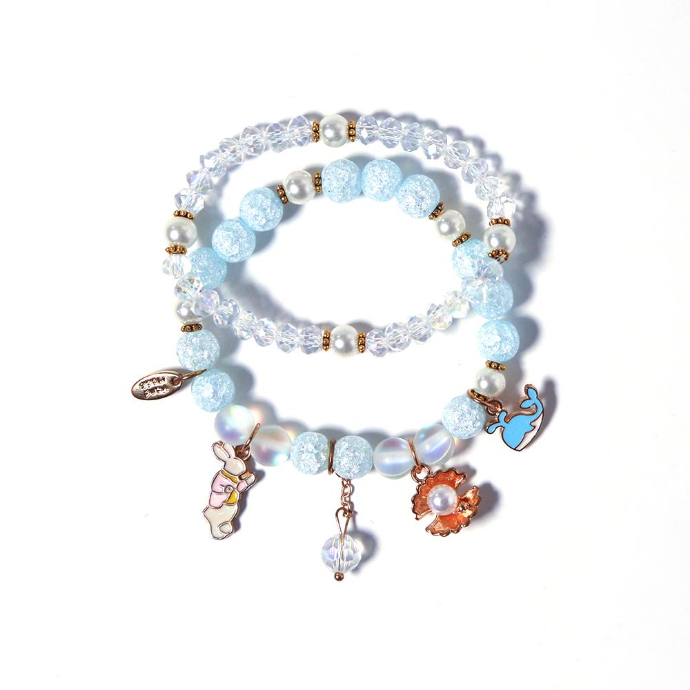Blue Crackle glass bracelet