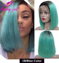 13X6 Боб, парик с фронтальным кружевом, человеческие волосы, Малайзия, прямые, Омбре, фронтальный парик, блонд, оранжевый цвет, Короткие парики,...(Китай)