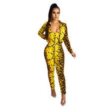 ANJAMANOR желтый змеиная кожа печати для женщин комплект из двух предметов брюки пикантные Клубные наряды Kyliejenner куртка Облегающий комбинезон ...(Китай)
