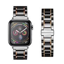 Керамический ремешок для Apple Watch, 5, 44 мм, 40 мм, роскошный браслет из нержавеющей стали iWatch, 42 мм, 38 мм, 40, 42, 44 мм, серия 3, 4, 5(Китай)