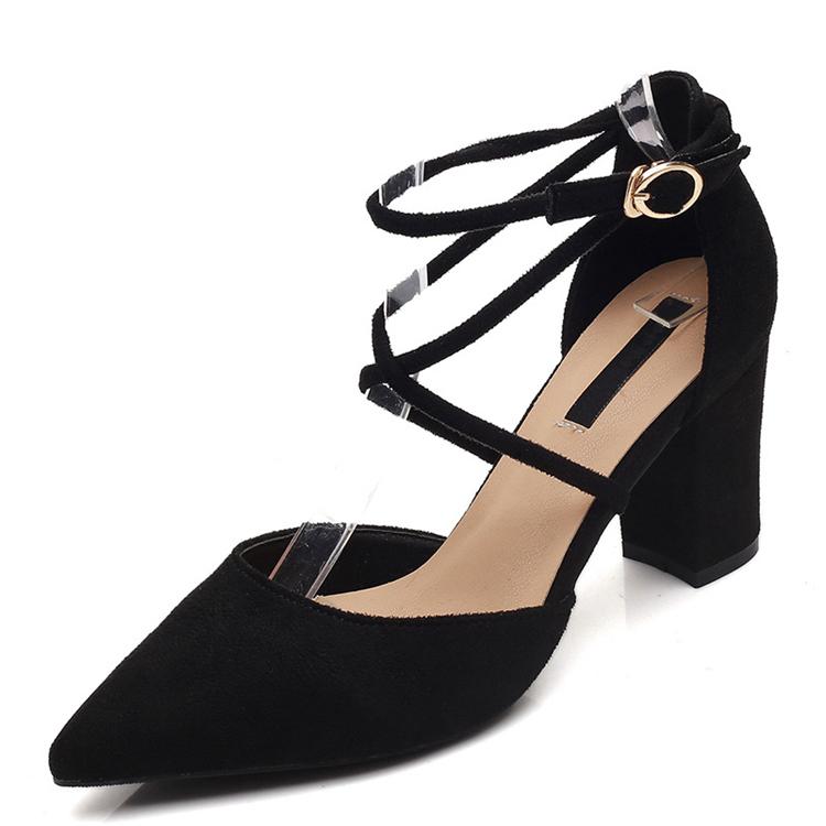 Women Fashion Peep Toe Ladies Chunky Block High Heels Sandals Ankle Buckle Shoes
