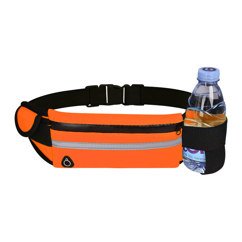 Wholesale Customized neoprene Unisex reflective Fitness Runner Earphone Water Bottle Waist Pack Belt bag