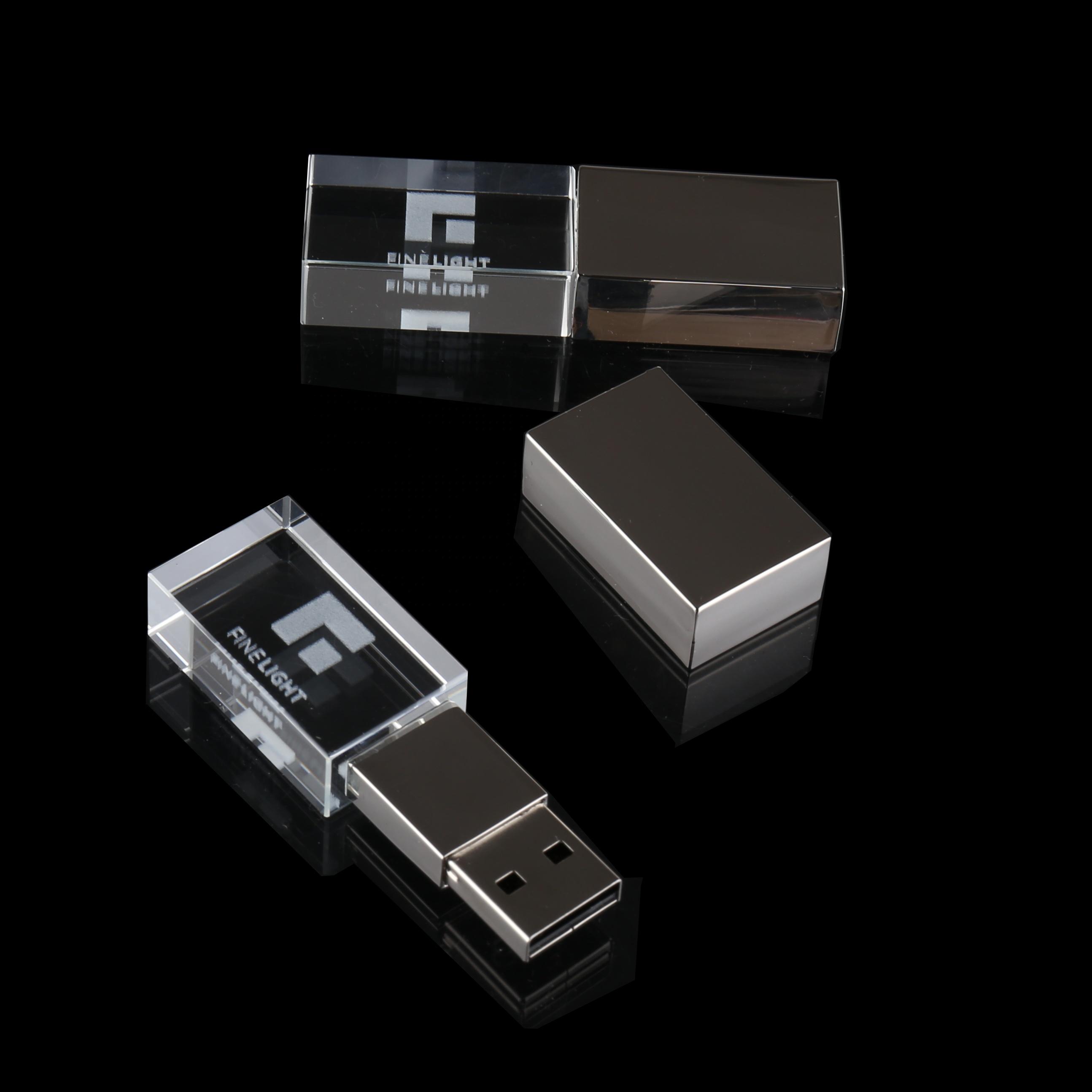 Promotional Gift LED Light 4GB 8GB 16GB 32GB 64GB Crystal USB Flash Drive Pen Drive wholesale - USBSKY | USBSKY.NET