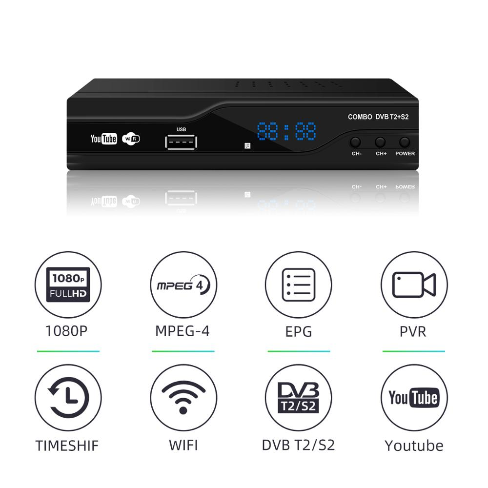 JUNUO DVB-T2 S2 2 in 1 Combo HD Digital Terrestrial Satellite Receiver MPEG-2/4 Support AC3 Cccam Youtube Biss TV Box