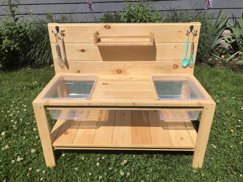 Новый дизайн, уличная садовая игровая длинная стандартная деревянная грязевая кухня для детей