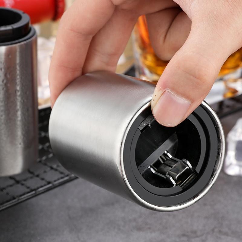 Creative bar automatic magnet beer stainless steel 304ss bottle opener push down bottle opener