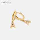 Gold Plated Earrings Wholesale 2020 New Fashion 26 Letters Of Alphabet 18k Gold Plated CZ Charms Letter Initial Earrings