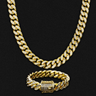 Gold Diamond Jewelry Quality Iced Out Cuban Chain KRKC 14mm 18K/White Gold Plated 5A CZ Iced Out Diamond Hip Hop Jewelry Stainless Steel Cuban Link Chain
