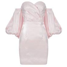 Ailigo 2020 новое летнее мини-платье с открытыми плечами платье, сексуальное платье для женщин, с буффами на рукавах, розовый драпированное плать...(Китай)