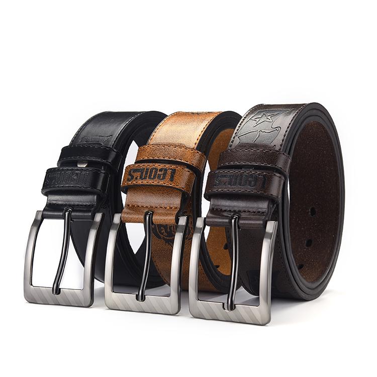 Custom logo men real formal leather belt for jeans jacket